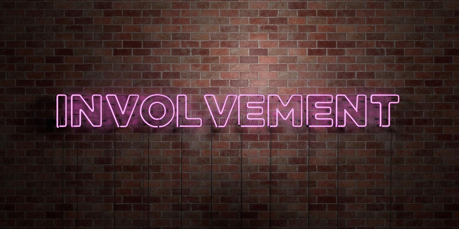 INVOLVEMENT - fluorescent Neon tube Sign on brickwork - Front view - 3D rendered royalty free stock picture. Can be used for online banner ads and direct vector illustration