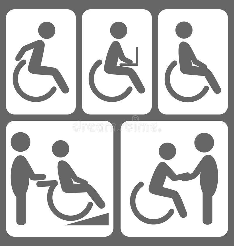 Inwalidzcy ludzie piktogram płaskich ikon na bielu royalty ilustracja