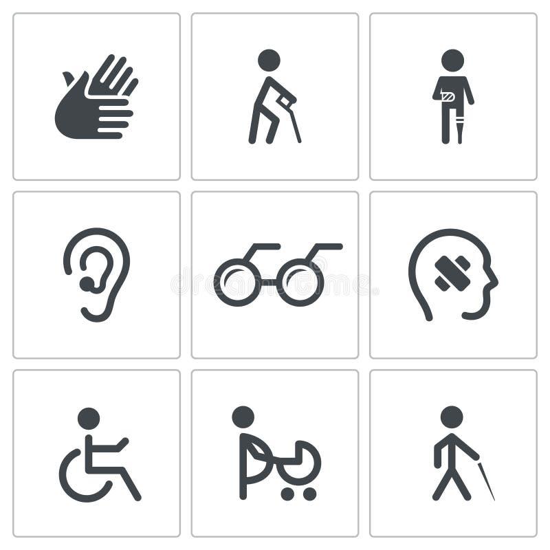 Inwalidzka ikony kolekcja royalty ilustracja