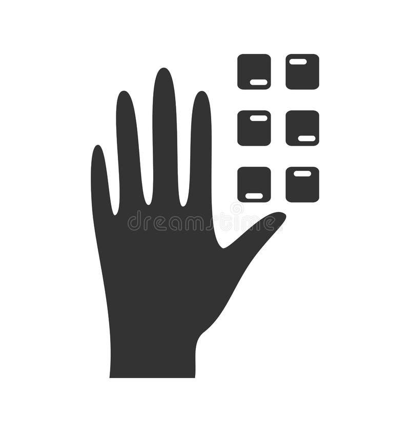 Inwalidzkiego piktograma Braille ikony płaska ręka odizolowywająca na bielu royalty ilustracja