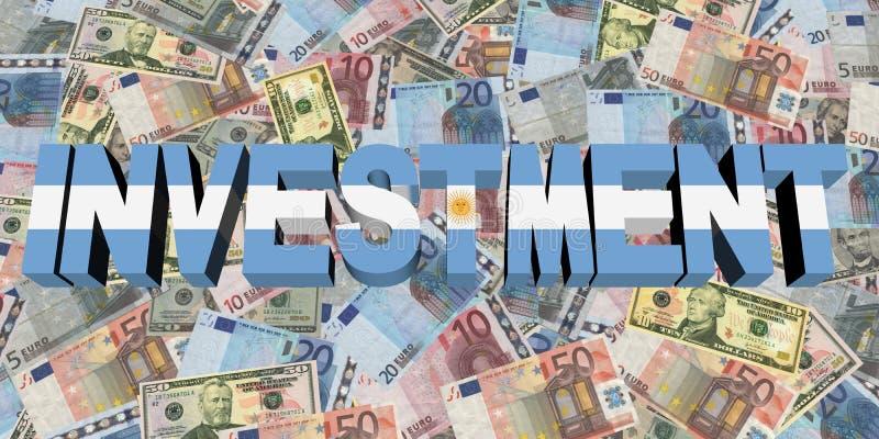 Inwestorski tekst z Argentyńską flaga na waluty ilustraci ilustracja wektor