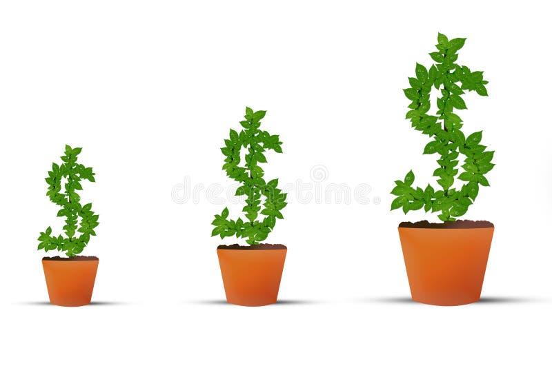 Inwestorski Wzrostowy Dolarowy pieniądze rośliny symbol ilustracji