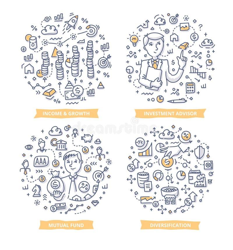 Inwestorskie Doodle ilustracje royalty ilustracja