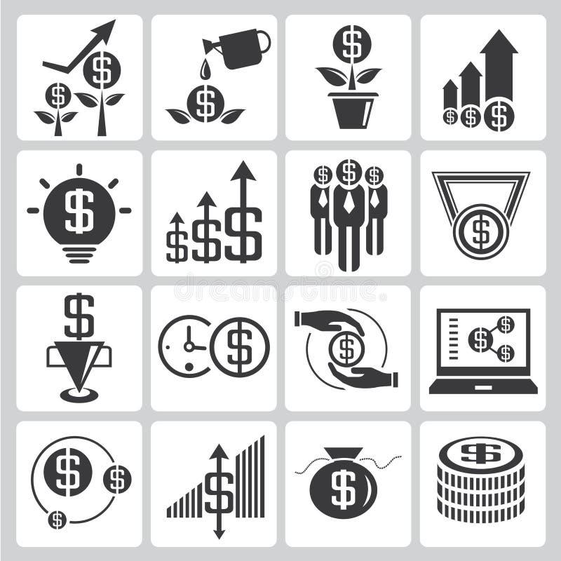 Inwestorskie ikony, pieniężne ikony royalty ilustracja