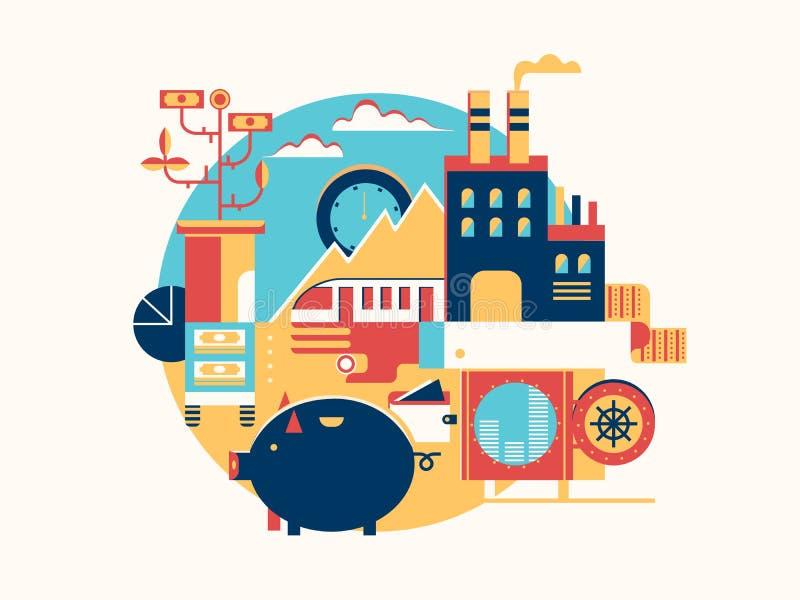Inwestować w biznesowym ikony mieszkaniu ilustracja wektor