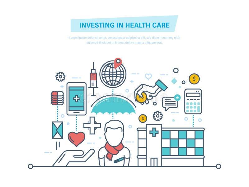 Inwestować w opiece zdrowotnej Rozwój medycyna, udoskonalająca ilość usługa ilustracji