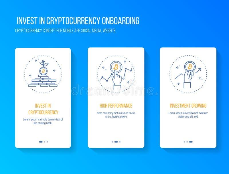 Inwestuje w cryptocurrency i blockchain dostaje wysokiego występu zysku pojęcie onboarding splashscreen dla wiszącej ozdoby app W ilustracja wektor