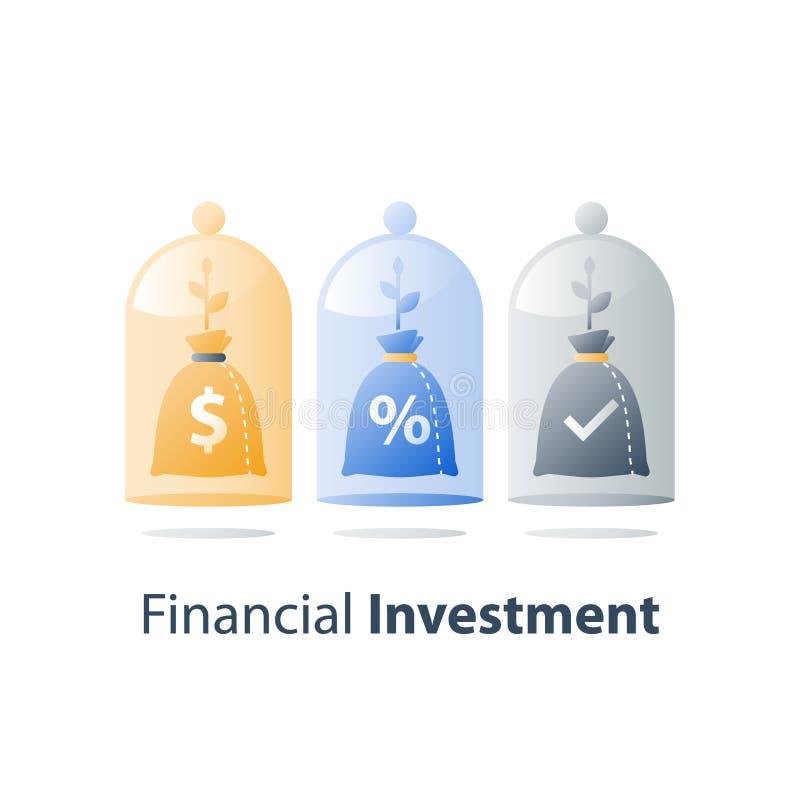 Inwestycja długoterminowa, inwestuje fundusz, kapitałowy przydział, emerytalny oszczędzania konto, banka depozyt, wartość wzrost, ilustracja wektor