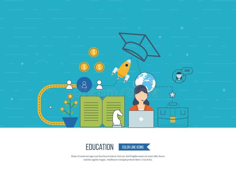 Inwestycja w edukaci Rozwój Biznesu Nauczanie online ilustracja wektor
