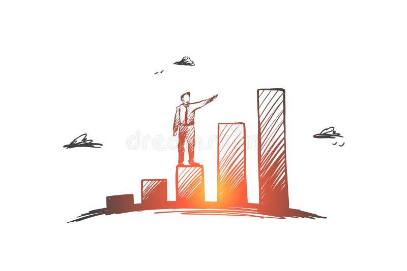 Inwestycje, zysk, perspektywa, biznes, wzrostowy pojęcie Ręka rysujący odosobniony wektor royalty ilustracja