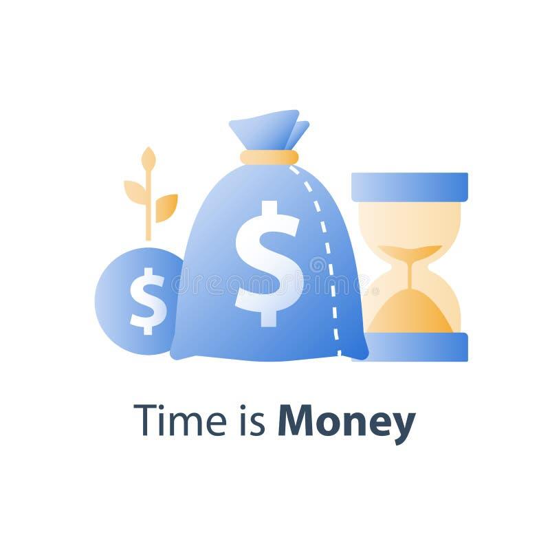 Inwestycji d?ugoterminowej strategia, emerytalny oszcz?dzanie fundusz, hourglass i torba, czas jeste?my pieni?dze poj?ciem, kapit ilustracja wektor