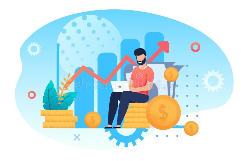Inwestycji i analizy pieniądze zysków metafora ilustracji
