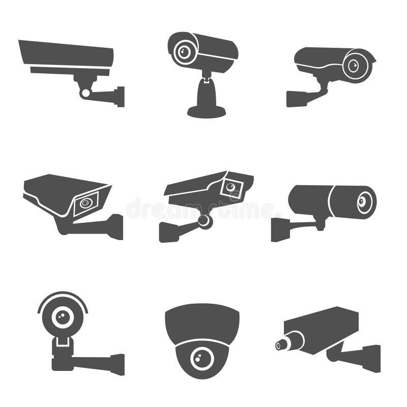 Inwigilaci kamery ikony royalty ilustracja