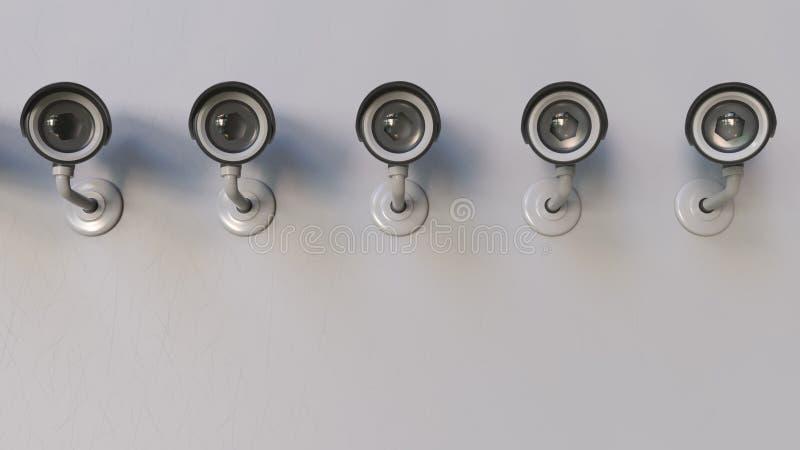 Inwigilacja lub CCTV kamery tropi widza świadczenia 3 d royalty ilustracja
