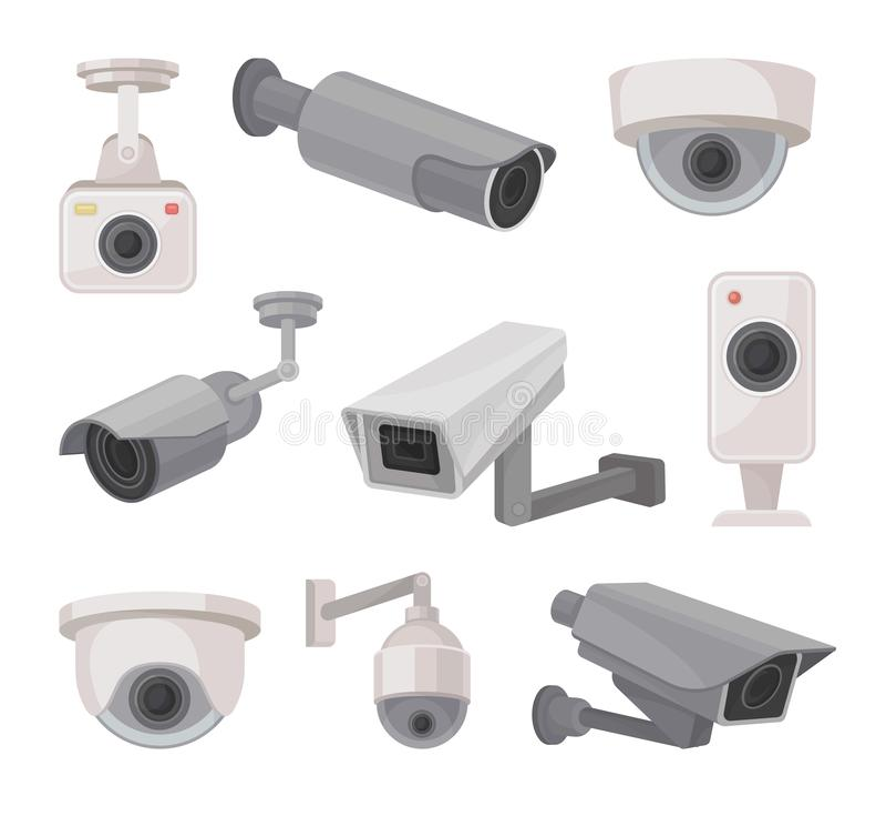 Inwigilacji kamera outdoors i indoors Wideo monitorowanie ilustracja wektor