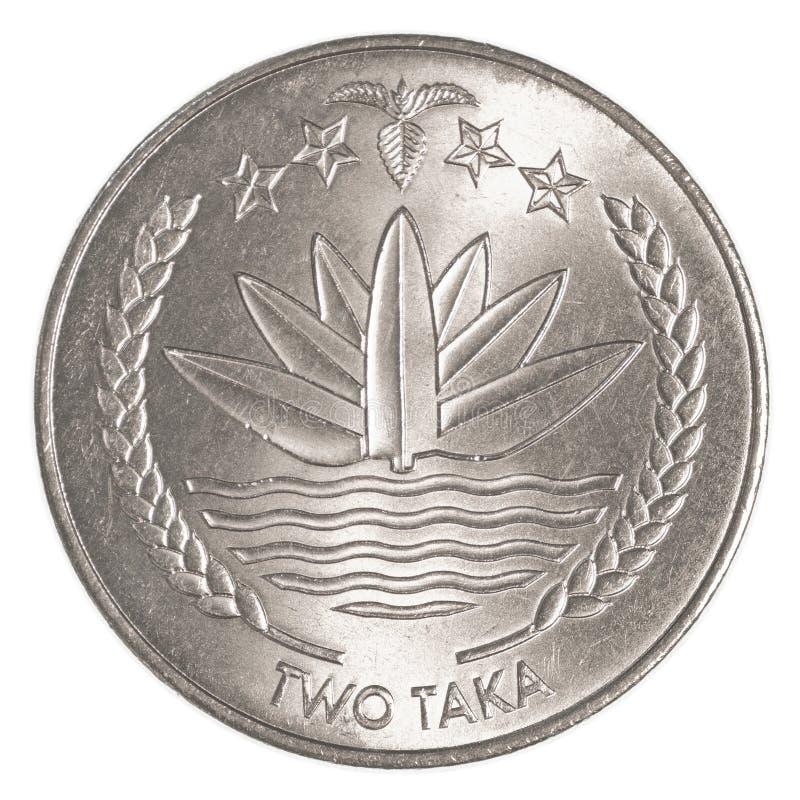 Inwoner van Bangladesh taka twee muntstuk stock foto