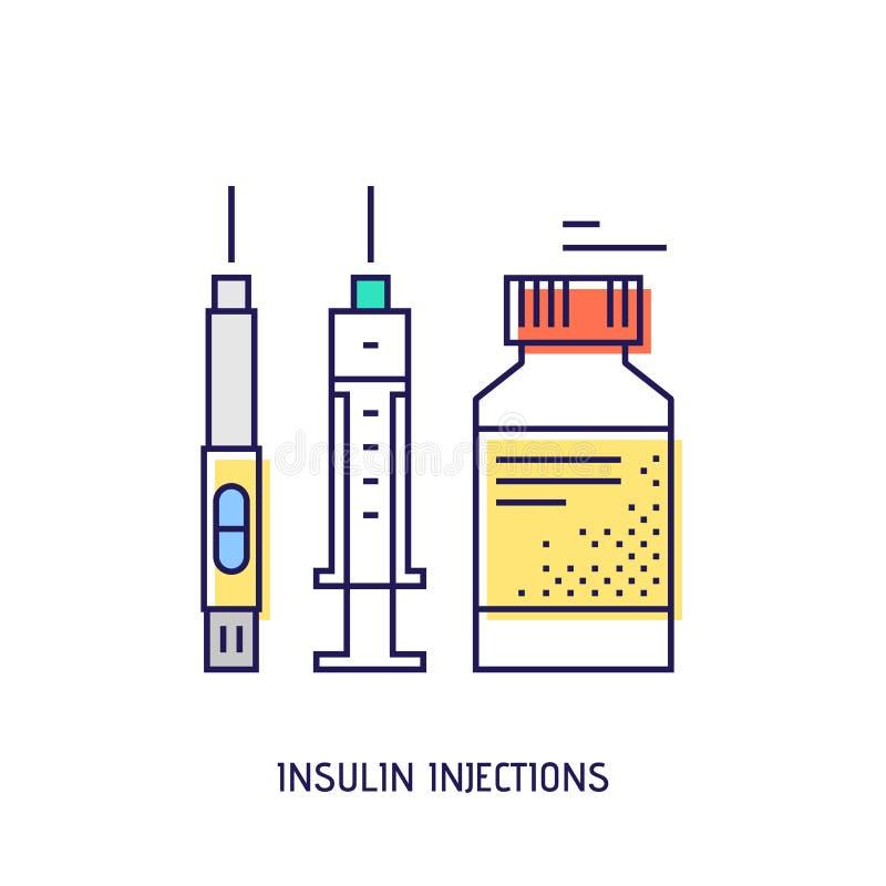 Inyección de la insulina Línea fina icono del vector de la diabetes libre illustration