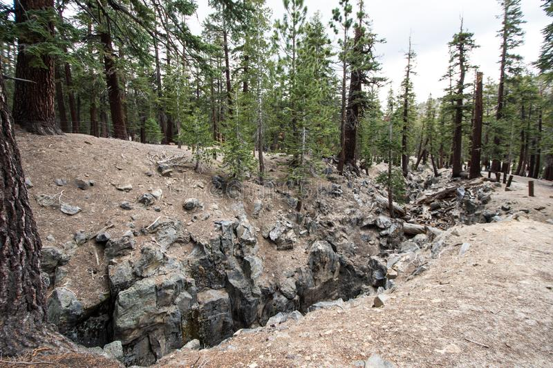 The Inyo Earthquake Fault in Mammoth Lakes California. Shows the damage it caused to the ground stock photos