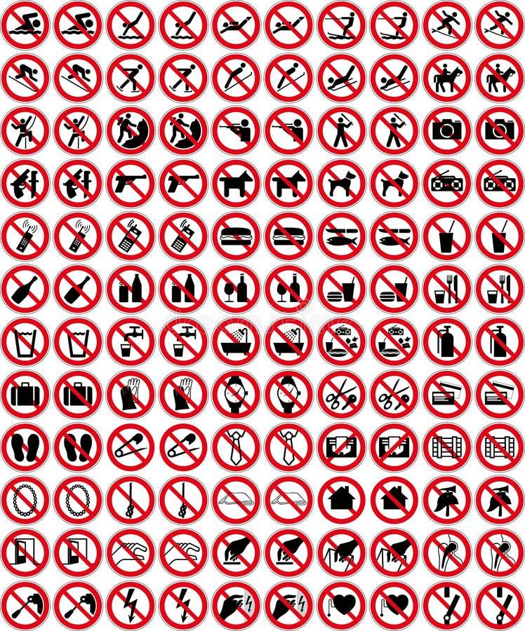 Inzameling 4 van tekens - Geen teken (+ vector) royalty-vrije illustratie