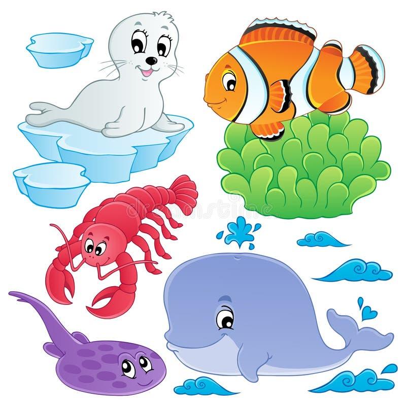 Inzameling 5 van zeevissen en van dieren royalty-vrije illustratie