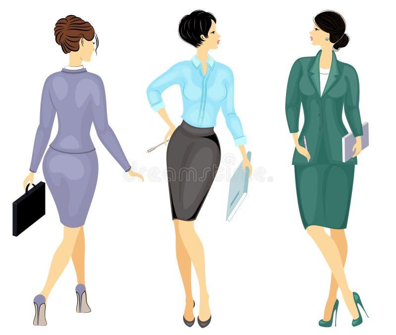 inzameling Bedrijfs vrouw die een omslag houdt Mooi meisje in een strikt kostuum Het is een vrouw in hoge hielenschoenen Vector vector illustratie