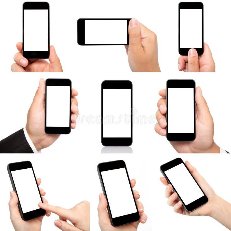 Inzameling die van handen de telefoon met het geïsoleerde scherm houden stock fotografie