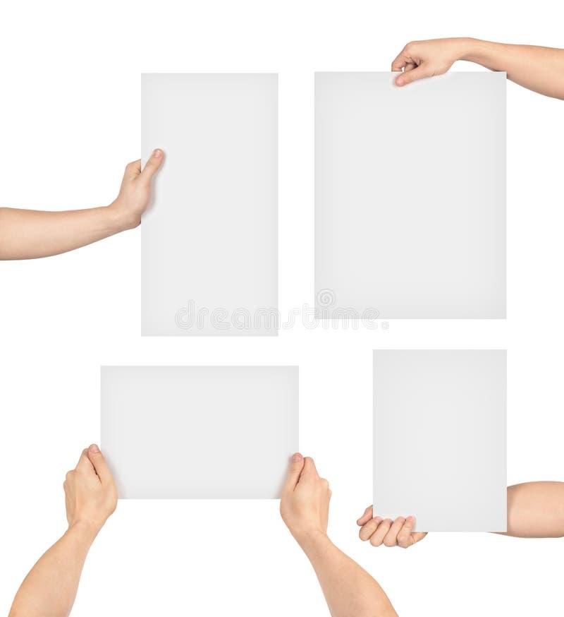 Inzameling die van handen document houden stock fotografie