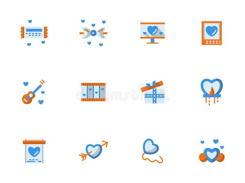 Inzameling die van liefde vlakke pictogrammen begroeten royalty-vrije illustratie