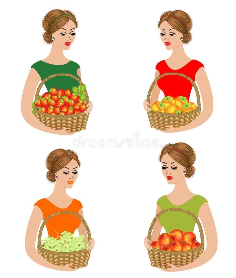 inzameling E Rijpe en zoete vruchten Het meisje is jong vector illustratie