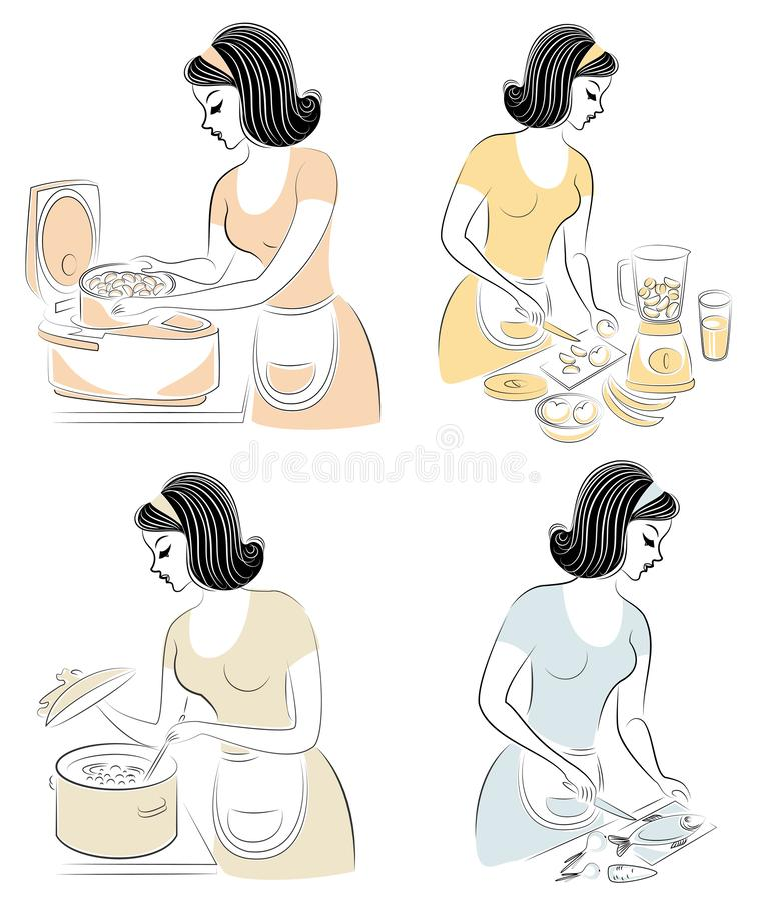 inzameling Een mooi meisje bereidt voedsel in een Langzaam kooktoestel voor, maakt sap een mixer, groenten in een salade snijdt E stock illustratie
