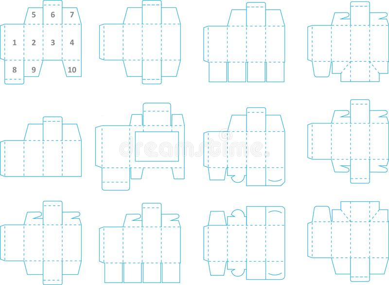Inzameling 01 eps van het doosmalplaatje royalty-vrije illustratie