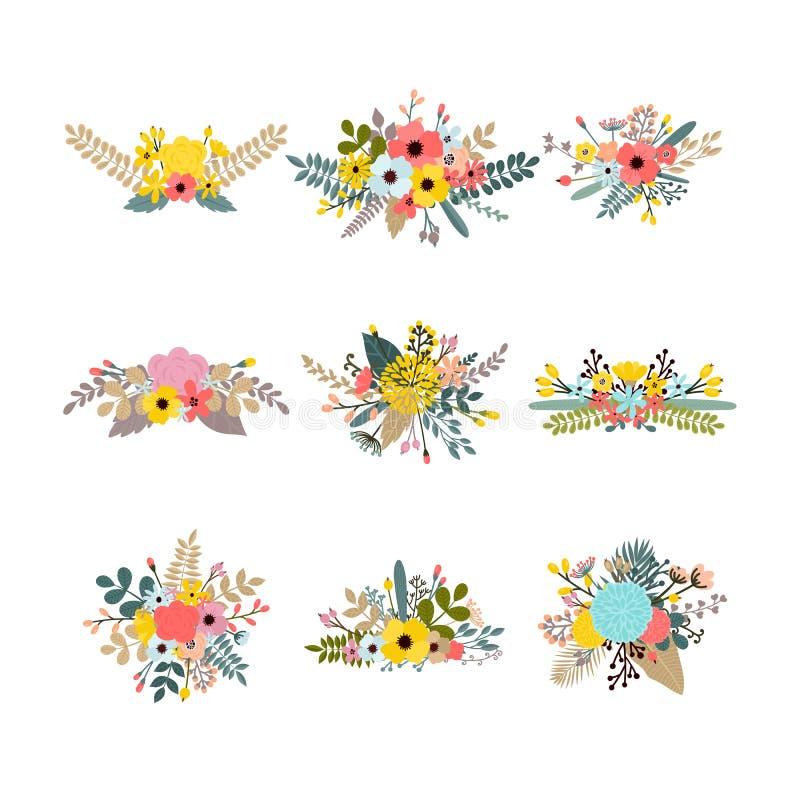 Inzameling met bladeren en bloemen Reeks bloemenboeketten voor decoratie De grafische Elementen van het Ontwerp Elegante boekette vector illustratie