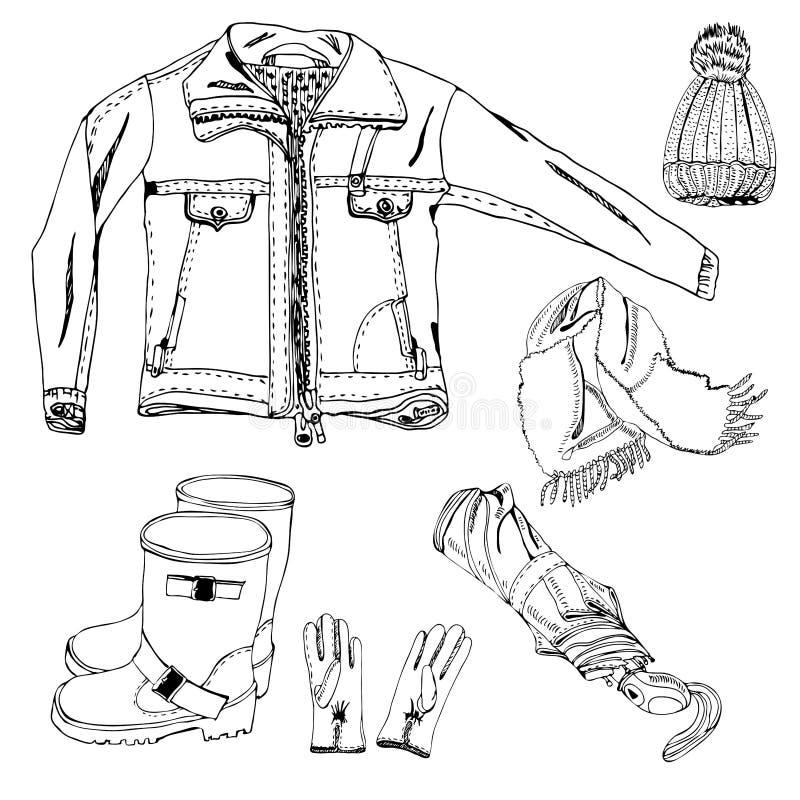 Inzameling met hand van punten van de herfstkleren die wordt getrokken De zwart-wit die voorwerpen van de inktschets op witte ach stock illustratie