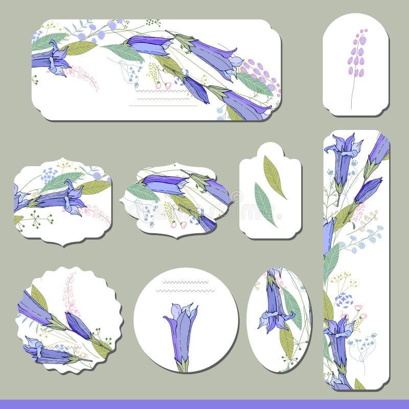 Inzameling met verschillende bloemendocument etiketten royalty-vrije illustratie