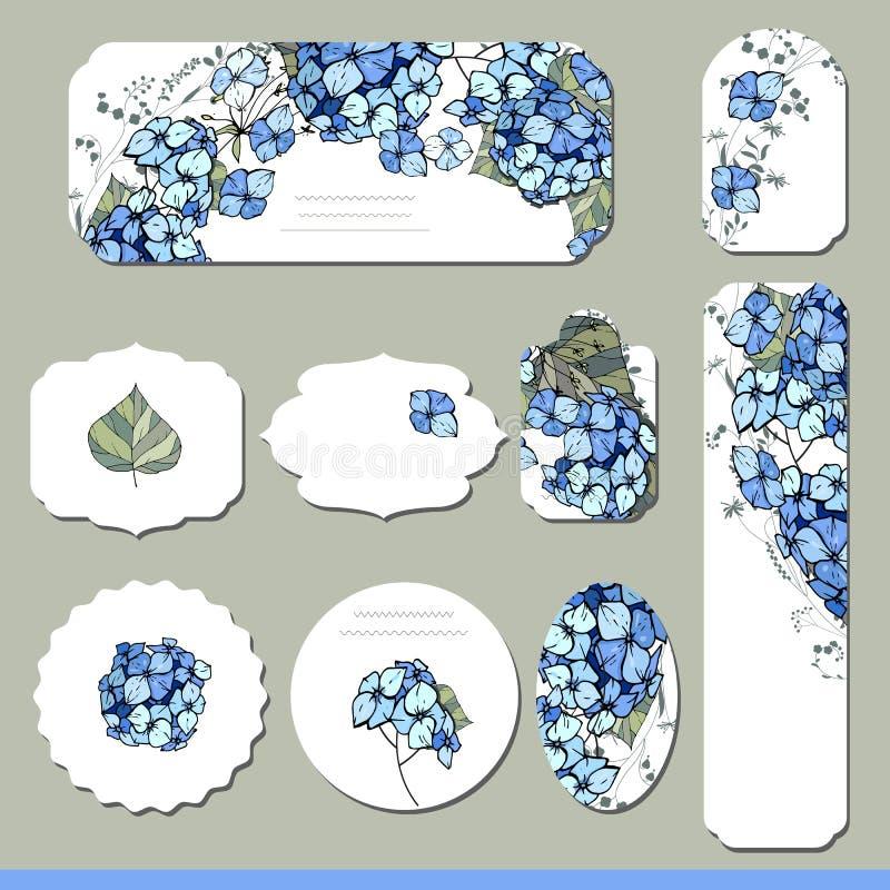 Inzameling met verschillende bloemendocument etiketten stock illustratie