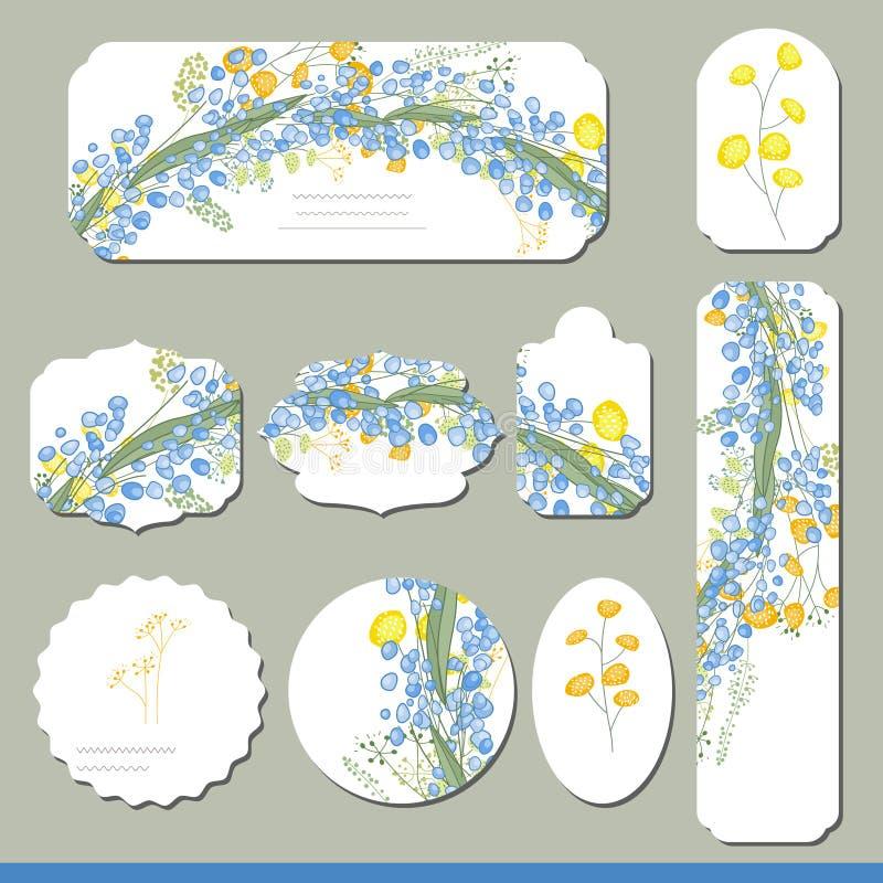 Inzameling met verschillende bloemendocument etiketten voor aankondigingen stock illustratie
