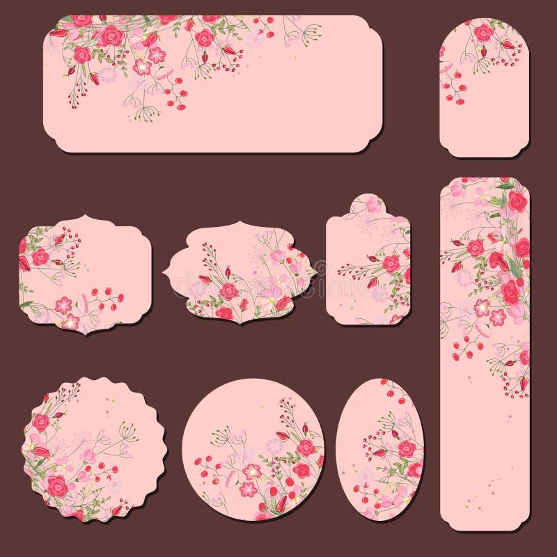 Inzameling met verschillende document etiketten Ronde, vierkante, rechthoekige, verschillende vormen Rode en roze rozen en kruide stock illustratie