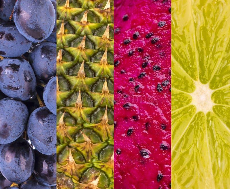 Inzameling met verschillende vruchten, bessen en groenten stock foto