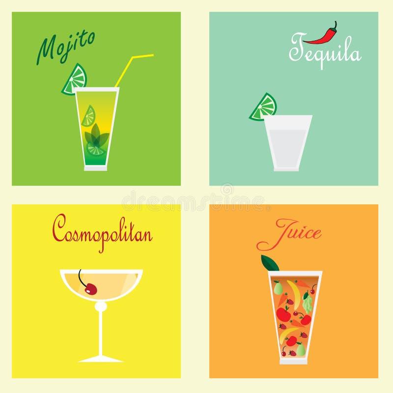Inzameling met vier coctails: mohito, tequila, kosmopolitisch en sap royalty-vrije illustratie