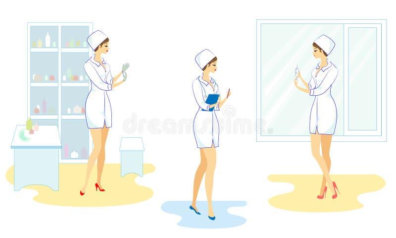 inzameling Mooie verpleegster in het ziekenhuis Het meisje neemt de geneeskunde in een spuit om de patiënt te geven een injectie, vector illustratie