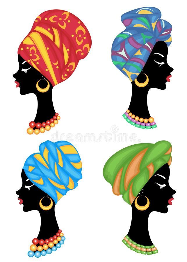 inzameling Profiel van een zoete dame Op het hoofd van een meisje Afrikaans-Amerikaan is een gebreide sjaal, een tulband De vrouw royalty-vrije illustratie