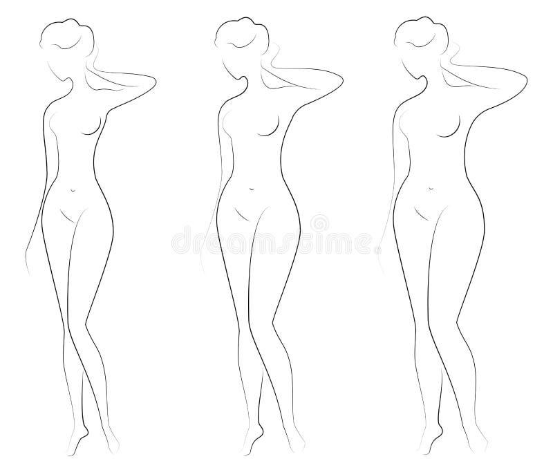 inzameling Silhouet van een mooi vrouwencijfer Het meisje is dun, slank en de vrouw is vet De dame bevindt zich Reeks van royalty-vrije illustratie