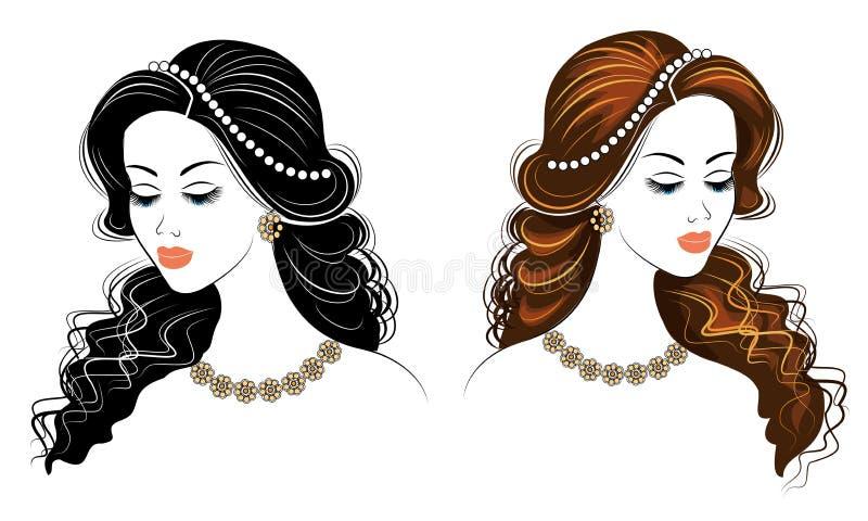 inzameling Silhouet van het hoofd van een leuke dame Het meisje toont haar kapsel op lang en middelgroot haar Geschikt voor emble vector illustratie