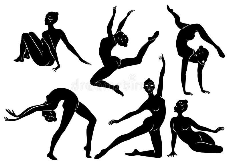 inzameling Silhouet van slanke dame De meisjesturner de vrouw is flexibel en bevallig Zij springt Grafisch beeld royalty-vrije illustratie