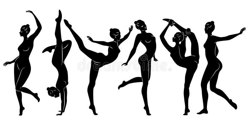 inzameling Silhouet van slanke dame De meisjesturner de vrouw is flexibel en bevallig Zij springt Grafisch beeld stock illustratie