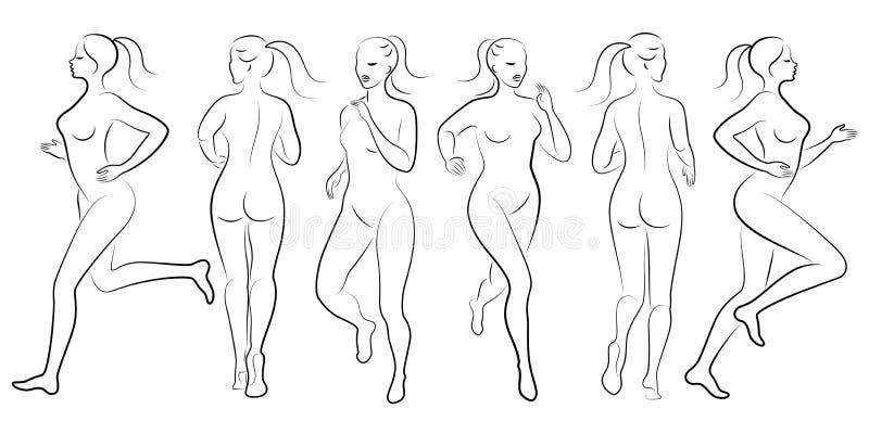 inzameling Silhouet van slanke dame Het meisje loopt De vrouw gaat binnen voor sporten, versterkt gezondheid Vector vector illustratie