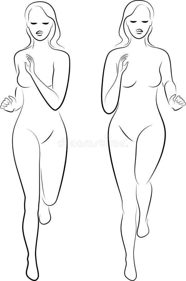 inzameling Silhouet van slanke dame Het meisje loopt De vrouw gaat binnen voor sporten, versterkt gezondheid Vector illustratie stock illustratie