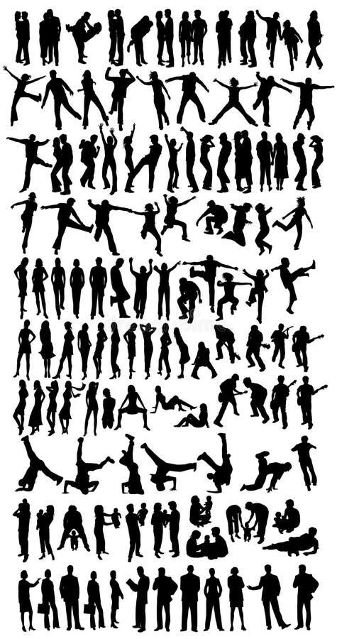 Inzameling van 118 silhouetten vector illustratie