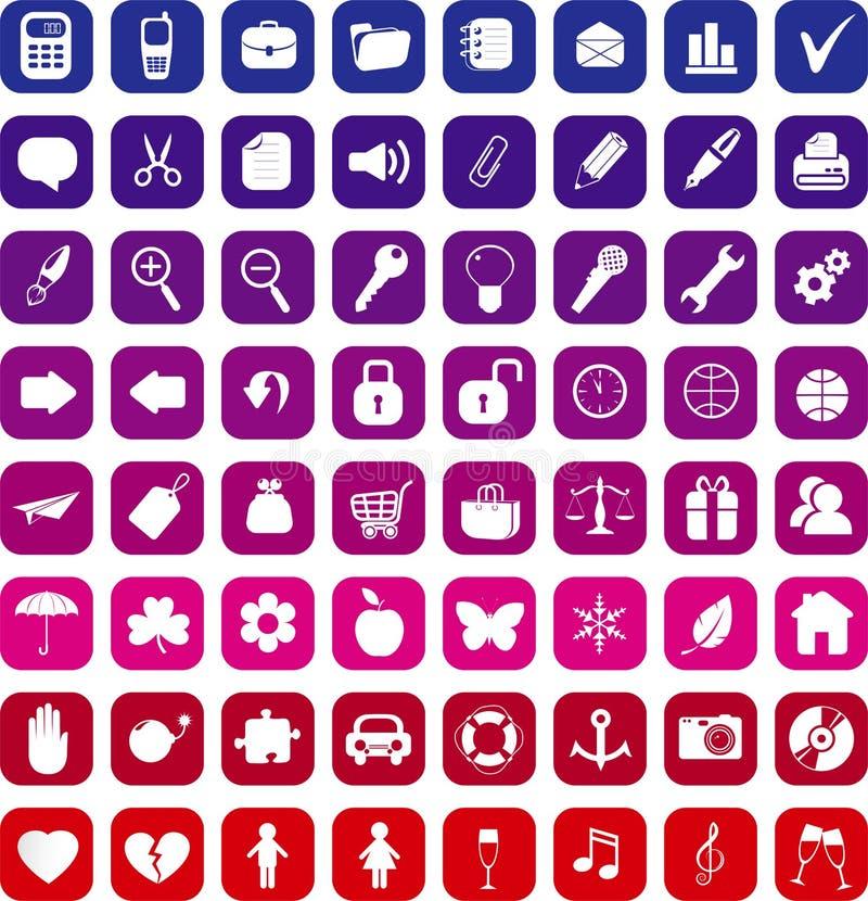 Inzameling van 64 pictogrammen stock illustratie