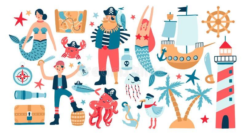 Inzameling van aanbiddelijke piraten, zeilschip, meerminnen, overzeese vissen en onderwaterschepselen, schatborst, vuurtoren royalty-vrije illustratie